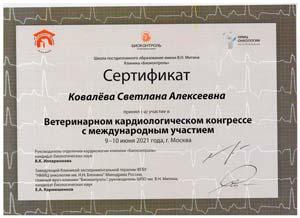 Ветеринар кардиолог Ковалева Светлана